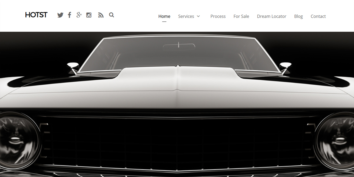 Web Design Portfolio hot rod restoration web design example. Black muscle car image with simple clean design layout